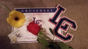 cheer banquet items. lettering certificate, the letter, pin & flowers!